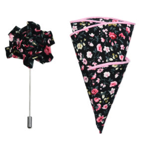 Black Pink Dusty Rose Floral Lapel Pin & Hanky Set